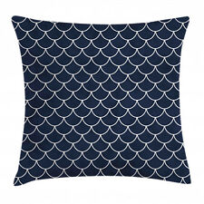 Nautical Throw Pillow Case Ocean Waves Sea Shell Square Cushion Cover 16 Inches