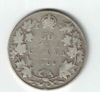 CANADA 1906 50 CENTS HALF DOLLAR KING EDWARD VII STERLING SILVER CANADIAN COIN
