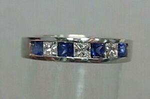 Diamond and Sapphire Band 14k White Gold size 4.75