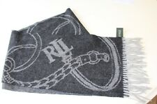 "NWT RALPH LAUREN 100% Wool Scarf Signature Bridle Grays Unisex 11x76 + 3"" Fringe"