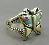 CAROLYN POLLACK Relios STERLING SILVER RING Mosaic Gemstone Inlay BUTTERFLY sz 7