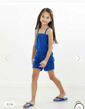 NWT Hanna Andersson  120 6 7 Blue Toweling Romper Coverup Shorts One piece