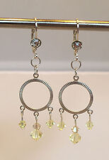 Chandelier Earrings, Silver plated with Light Yellow Crystals. 2 1/2 inches.