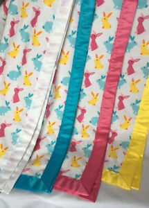 """Easter Spring Baby Blanket 42"""" Sq Flannel Satin Trim Yellow Blue Pink Bunnies"""