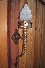 VTG ITALY GOTHIC MEDIEVAL WROUGHT IRON TORCH FLAME GLASS SHADE SCONSES FIXTURE