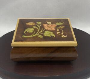 Vintage Italian Jewelry Box Floral Inlaid wood