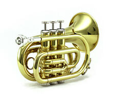 Top Quality Bb Gold Plated Brass Pocket Trumpet w Strong Case 7c Mouthpiece