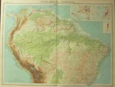 1922 LARGE ANTIQUE MAP ~ SOUTH AMERICA NORTHERN ~ BAHIA BRAZIL PERU VENEZUELA