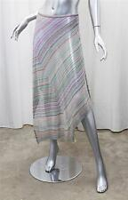 MISSONI Womens Green+Purple Multi Striped Knit Asymmetrical Hem Long Skirt 44/8