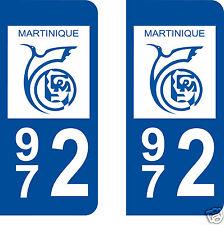stickers autocollants plaques immatriculation auto Département Martinique 972