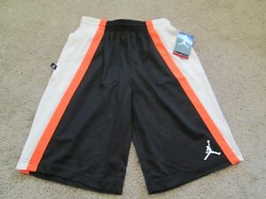 BRAND NEW NIKE Air Jordan Boys Athletic/Basketball Shorts YLG 14-16 Blk/Org/Wht