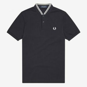 Fred Perry M4526 Bomber Collar Pique Polo Shirt, Navy, Mod Ska, Scooter, SALE