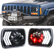 "Pair 7X6"" 5X7"" LED Headlight DRL Driving Lamps For Jeep Cherokee XJ Chevrolet"