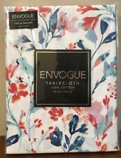 Envogue Oblong Tablecloth 100% Cotton 60x102 In/Outdoor Floral Blue Salmon NIP