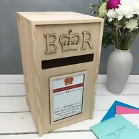Solid Wooden Pine Card Post Box, Royal Mail Style, Great For Weddings + Parties