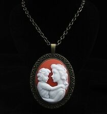 "24"" Mother and Child Cameo Pendant Necklace"