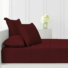 """Extra New Deep Fitted Sheet 16"""" Elastic 100%Cotton 600 TC Burgundy Solid UK-King"""