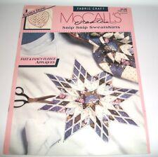 McCALLS CRAFT PATTERN LEAFLET SNIP SNIP SWEATSHIRTS FAST EASY APPLIQUES 14048