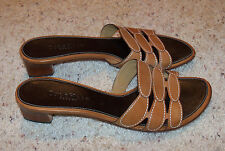 Cole Haan Resort Leather Sandals, Slides, Heels, Shoes, 8.5, Brown, Tan