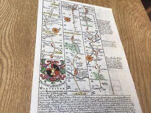 BROADWAY PERSHORE BROMYARD WORCESTER OWEN BOWEN MAP 1720 FROM BRITANNIA DEPICTA