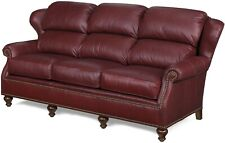 NEW LEATHER SOFA  BUSTLE-BACK  WING BACK  WOOD  DARK RED  NAILHEAD