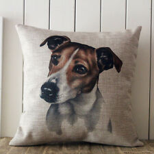 """18"""" Jack Russell Terrier Dog Vintage Linen Cushion Cover Pet Home Decoration"""