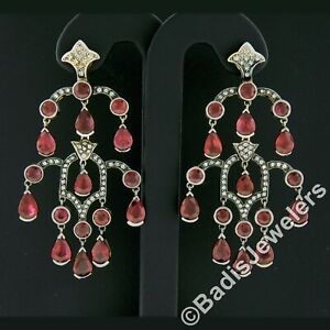 18k Two Tone Gold 17.48ct GIA Pear Ruby & Diamond Large Drop Chandelier Earrings