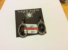 $28 Anne Klein Black Stone/Diamond Clip-On Drop Earrings 150