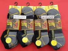 3 Pairs Mens Workwear Trainer BOOTS Socks Reinforced Heel Toe & Cushioned Soles