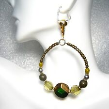 "CLIP ON! GOLD GREEN ART GLASS BEADED LARGE HOOP EARRINGS- 2"" - 50mm"