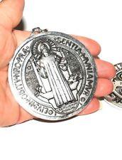 Silver Plated Saint St Benedict Pendant Cross Medal
