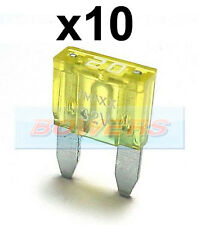 PACK OF 10 12V 24V VOLT 20A AMP YELLOW MINI BLADE FUSES KIT CAR VAN MARINE