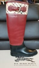 burberry ladies brown & black buckle boots - size uk 2.5 EU 35 - brand new