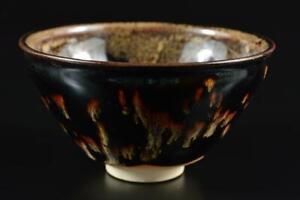 #3352: Japanese Kiyomizu-ware Sea cucumber glaze Flower TEA BOWL Tenmoku chawan