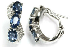 3.47 ct tw Natural Blue Sapphire & Diamond Solid 18k White Gold 3 Stone Earrings