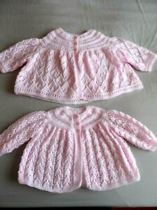"""TWO HAND KNITTED BABY MATINEE COATS  IN PALE PINK. (18"""" chest )"""