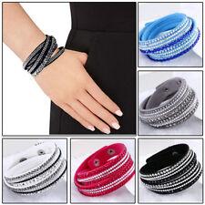 Leather Wrap Around Multilayer Bracelet Wristband Rhinestone Crystal Fashion
