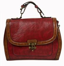 Banned Vintage Retro 50s Rockabilly Stevie Handbag Shoulder Bag Burgundy Red