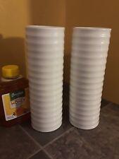 2 NEW Home Essentials BASIC White Porcelain Decorative Vase
