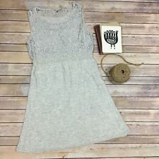 Knitted & Knotted Anthropologie Women's Knit Embroidery Lace Gray Dress Sz. M