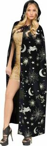 Black Silver Gold Celestial Cape Witch Sorceress Womens Costume Accessory NEW