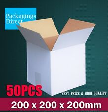 50 x Cardboard Packing Boxes 200 x 200 x 200mm White Mailing Box