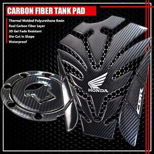 "FOR CBR 600/900/1000 10"" REAL CARBON FIBER GAS TANK PAD+FUEL CAP COVER PROTECTOR"