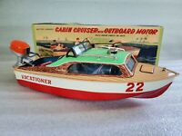 Vintage Linemar Marx Cabin Cruiser With Outboard Motor Tin Litho Toy Motor Boat