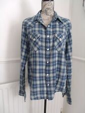 RALPH LAUREN SLIM FIT  POLO JEANS BLUE CHECK SHIRT SIZE L EXCELLENT CONDITION