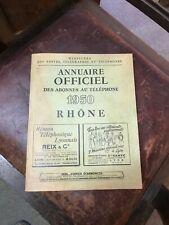 ANNUAIRE OFFICIEL DES ABONNES AU TELEPHONE 1950 RHONE