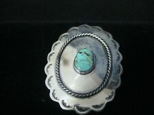 Concho Sterling Silver/Turquoise for Belt Navajo Hand Stamped CT3126