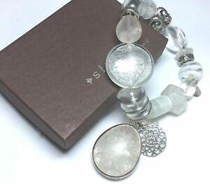 Silpada 925 Sterling Silver Rock Crystal Glass Liquidity Stretch Bracelet B2311