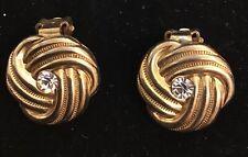 Vintage Retro Gold Tone Clip On Earrings twisted knot with diamanté centre 2cm