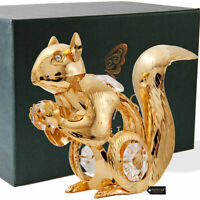 Matashi 24K Gold Plated Crystal Studded Squirrel Tabletop Ornament Gift For Mom